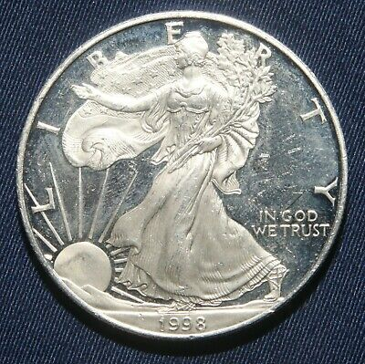 """1998-P $1 Silver Proof American Eagle 1 Oz Coin """"impaired""""  Lot 161144B"""
