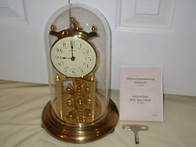 Kundo Kieninger & Obergfell German Brass Anniversary 400 Day Mantel Clock, Runs
