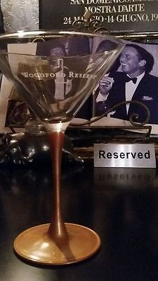 ONE 1 Woodford Reserve Bar Martini Glass w/ Gold Colored Stems Whiskey Crafted