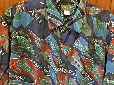 a8b9fbeb Kahala Hawaiian Aloha Rayon Shirt ISLAND FISH ART Surf Party Dress Men's SM