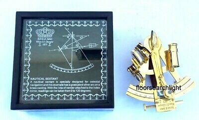 Nautical Sextant Antique Ship History With Wooden Box Vintage Brass Marine Gift