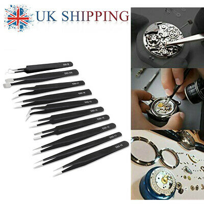 10x Stainless Steel Professional Coated Precision Tweezer Set Non Magnetic Craft