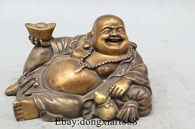"6"" Old China Purple Bronze 24K Gold Silver Seat Happy Laugh Maitreya Buddha Stat"