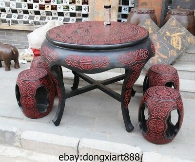 40 Chinese Handwork Carved pattern Wood Painted black varnish chair table stool