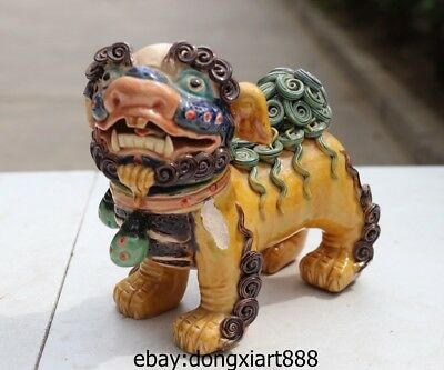 6 Chinese Wucai Porcelain & pottery Foo Dog lion Wealth Fengshui Animal Statue