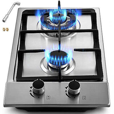 """12"""" 2 Burners Gas Cooktop Stainless Steel iron grates Double Oven Durable Knob"""