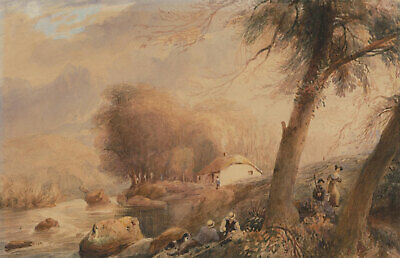 W. Barker - Early 19th Century Watercolour, A Rural Cottage with Figures