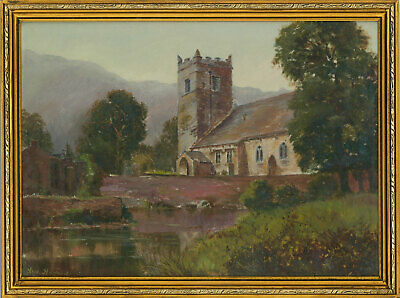 Alfred Harford RWA (1848–1915) - Early 20th Century Oil, Church by a River