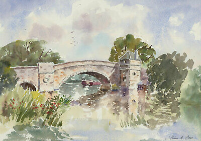 John A. Case - Signed Contemporary Watercolour, The Thames at Lechlade