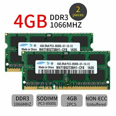 For Samsung 8GB 2x 4GB PC3-8500S DDR3 1066mhz 2RX8 204pin SODIMM Laptop RAM SP