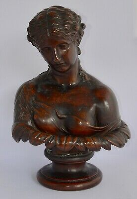 Large Antique Bronzed Copper on Plaster Bust of CLYTIE - 50cm - Wooden Plinth