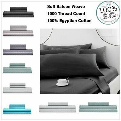 1000TC Greek Cotton Flat & Fitted Sheet Set Queen/King/Super King Size Bed NEW