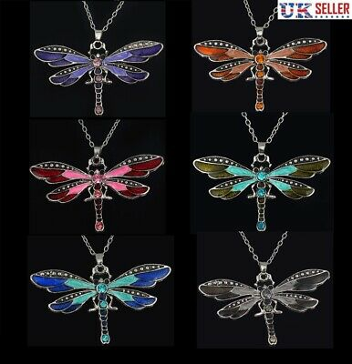 Dragonfly Animal Fly Insect Long Silver Plated Zinc Statement Necklace Bohemian Authentic Gypsy Teenage Luck Necklace