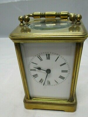 Antique French carriage clock with brass case Working order.