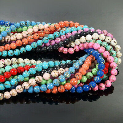 "Mix Turquoise & Shell Stone Round Beads 15.5"" 4mm 6mm 8mm 10mm 12mm Jewelry DIY"