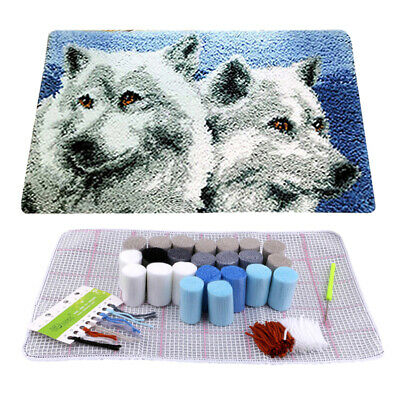 AU Wolf Latch Hook Rug Kit DIY Mat Needlework Yarn Cushion Embroidery Home Decor