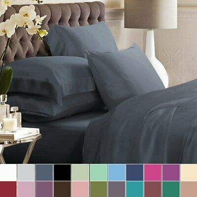 1800TC Single/KS/Double/Queen/King 4 Piece Bed Sheet Set,Flat,Fitted,Pillowcases
