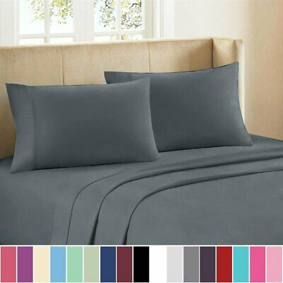 1800TC Ultra Soft Single/KS/Double/Queen/King Fitted, Flat Pillowcase Sheet Set