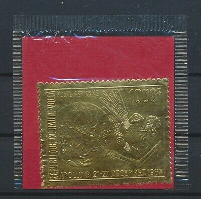 LK05224 Haute Volta 1968 rocket astronaut space stamp in gold MNH