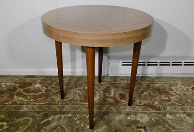 Thonet round side / lamp table tapered legs formica top mid century modern retro