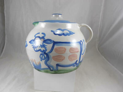 Very Nice M.A. HADLEY Cow Country Scene Stoneware Ceramic  Bean Pot and Lid
