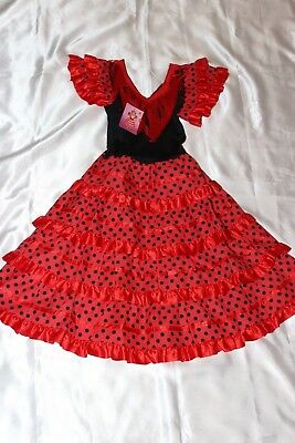 Girls fancy dress - Cute  girls Spanish outfit in red and black to fit age 8 yrs