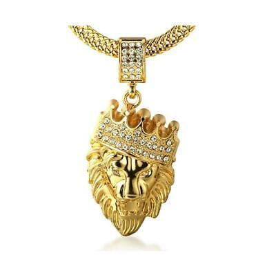 """Men's 18k Gold Plated Crown Lion Pendant Necklace with FREE SharkTail Chain 30"""""""
