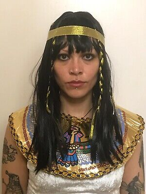 Ladies Black Bob Style Egyptian Cleopatra Queen Of The Nile Fancy Dress Wig,