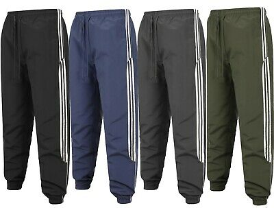 Mens Tracksuit Bottoms Striped Jogging Trousers Sport Gym Zip Pockets Size M-2XL