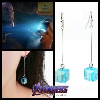 Marvels Avengers Tesseract Cube Dangle Earrings Space Stone Infinity Gem Jewelry