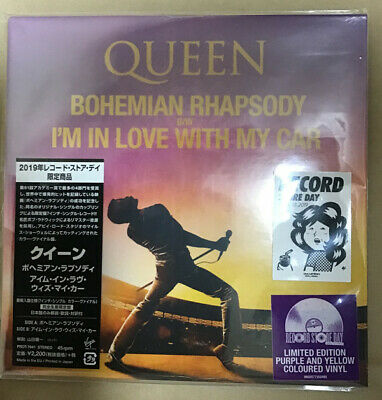 """QUEEN Bohemian Rhapsody I'm In Love With My Car LIMITED EDITION 7"""" VINYL YELLOW"""