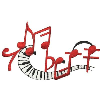 ID 9231 Piano Keys Sheet Music Patch Pitch Notes Embroidered Iron On Applique