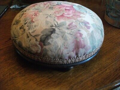 Round Victorian Footstool On Bun Feet Original Fabric Re Webbed