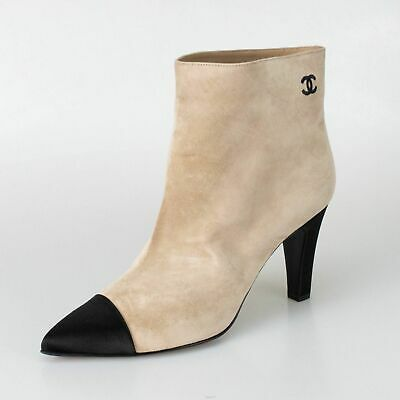 4e062f2c16f NIB CHANEL Beige Black Suede Embroidered Cap Toe Short Boots Shoes 6.5 37.5