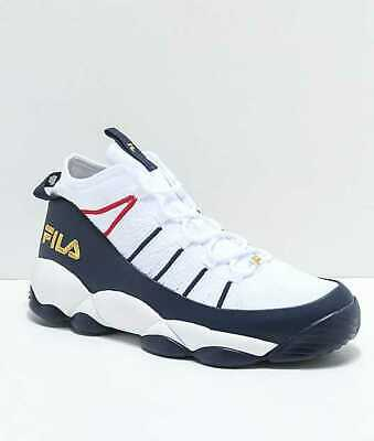 80af7854b7 New Men s 7.5 9 11 Fila Spaghetti Knit White Navy Shoes Basketball Sneakers