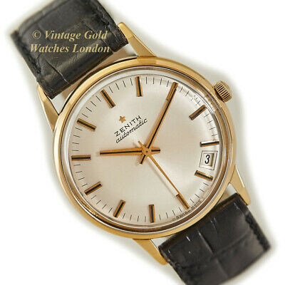 Zenith 18Ct Automatic 1966 Gents Dress Watch - Silver Starburst Dial
