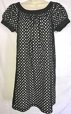 MAGGY LONDON Sz 8 Black White Cotton Cut Out Baby Doll Shift DRESS Tunic Top