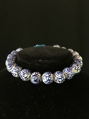 Chinese Blue and White Porcelain Bead Bracelet - Lovely Hand Painted Adjustable