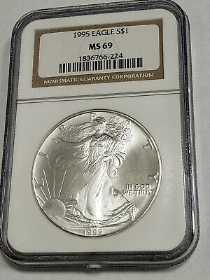1995 Ngc American Silver Eagle Ms 69