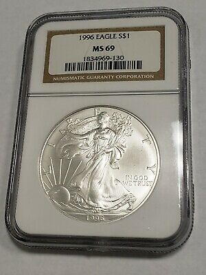 1996 Ngc American Silver Eagle Ms 69-Key Date