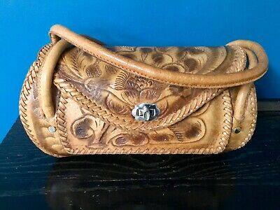 Vintage Hand Tooled Leather Handbag/Purse 12 X 6 X 5 In. 2 Handles Bohemian Chic