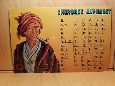 W2) Postcard CHEROKEE ALPHABET art by Ed York Indian Sequoyah pipe medallion