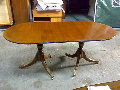 Antique reproduction regency twin pillar dining table + leaf