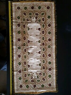 Antique Victorian Church Alter Table Runner Gold Embroidered 15' x 33' Beautiful