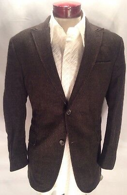 F843 Jack Victor 44R Prossimo Sport Coat Charcoal Striped Cashmere Lambswool