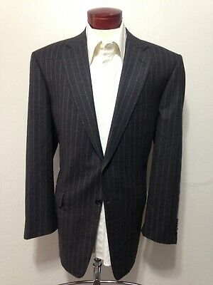 H213 PAL ZILERI Charcoal Pinstripe Wool Suit Jacket Men's 46L Made in Italy