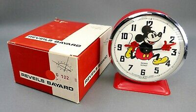 Vtg French 1960's Reveils Bayard Walt Disney Mickey Mouse Alarm Clock NEW IN BOX