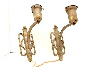 pair vintage antique Art Deco wall Sconces Cast Metal lighting fixture plug in