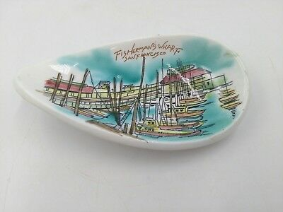 Hand Painted Fisherman's Wharf San Francisco California Souvenir Ceramic Dish