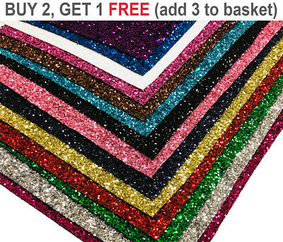 Shinny Chunky Glitter Fabric Fine Sparkly Vinyl A4 A5 Sheet Craft Work Decor Bow